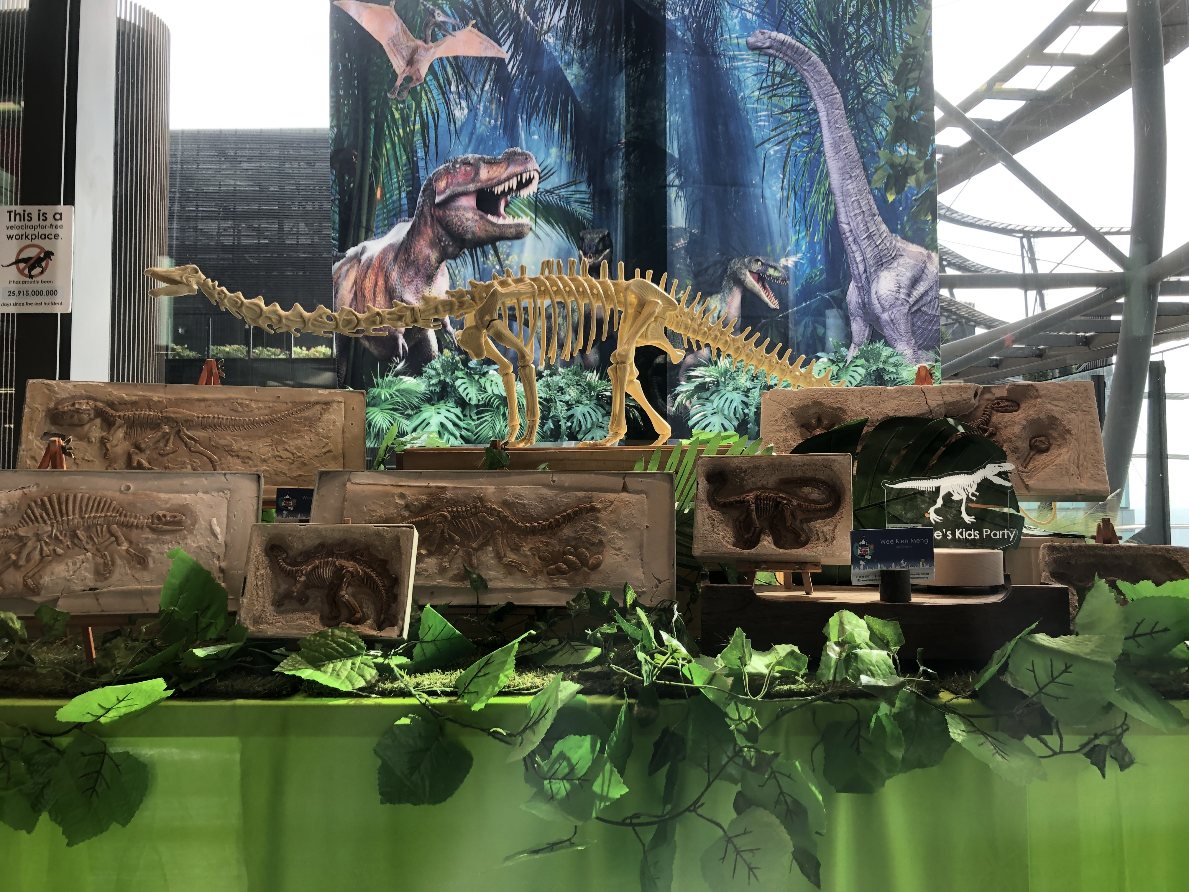 Dinosaur Fossil Decor with Banner
