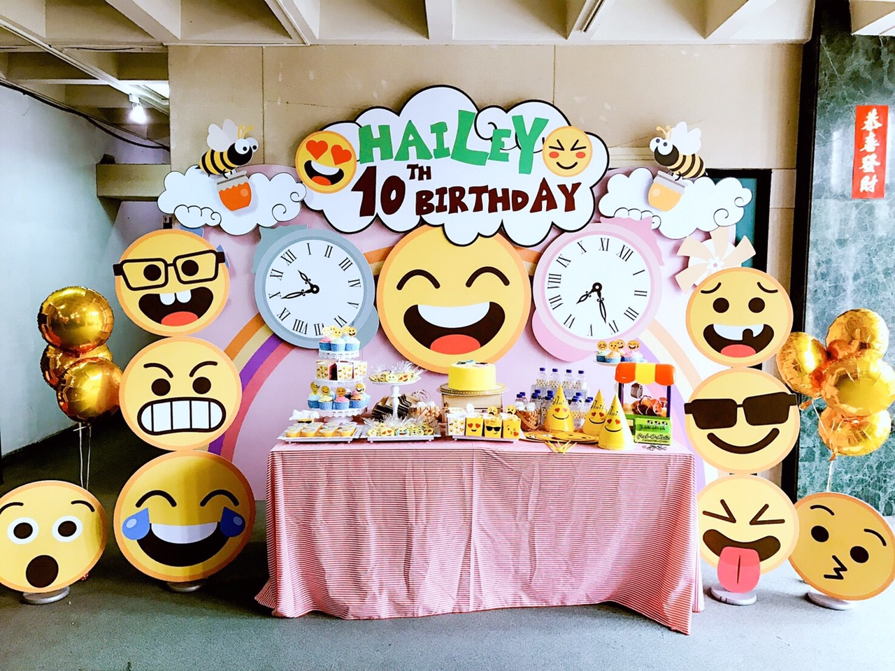 Emoji theme candy buffet