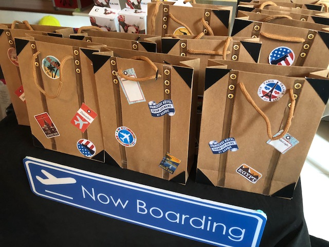 Luggage goodie bags with themed items