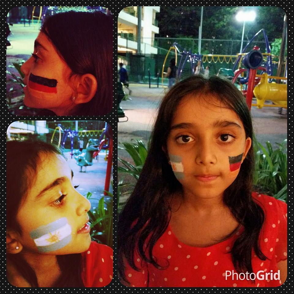 Facepainting of flags for World Cup and sports events
