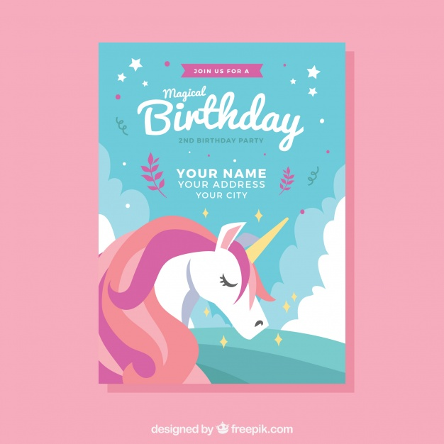 Unicorn Invitation Card Free Download