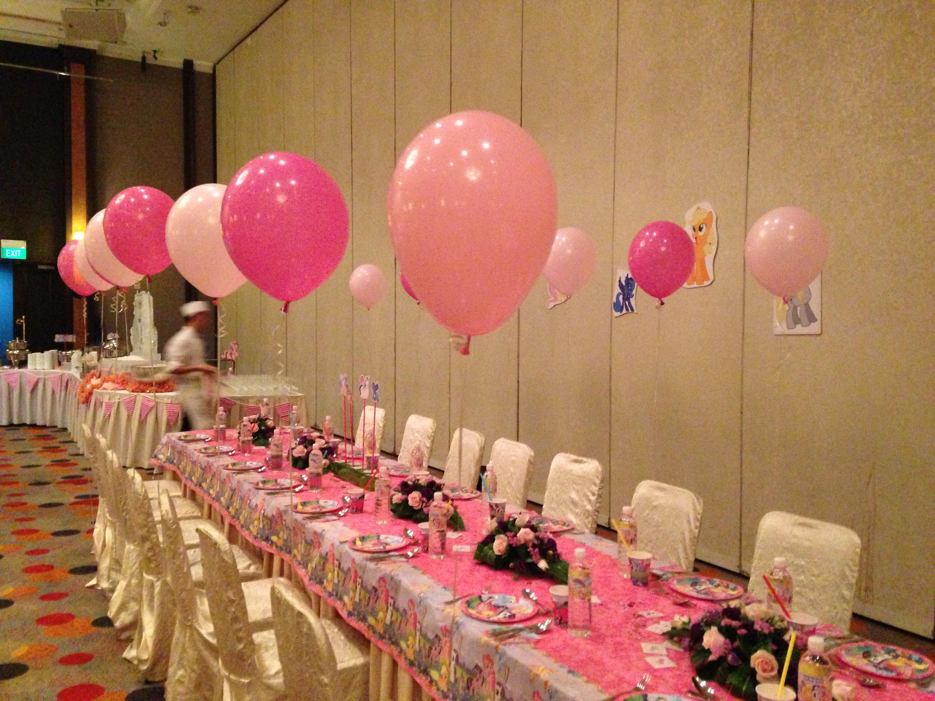 Pink helium balloons