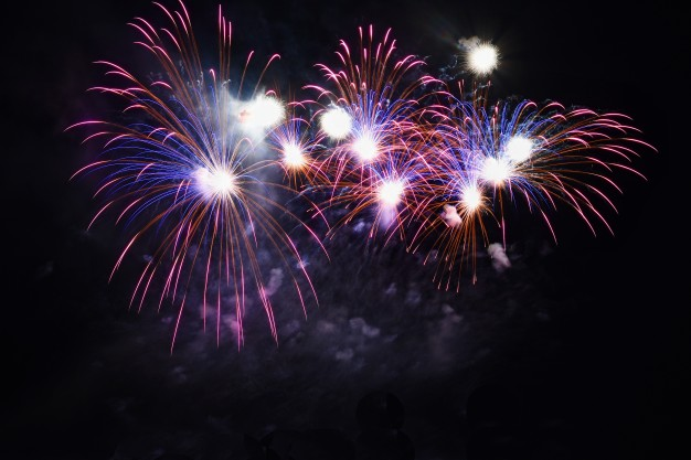 colorful fireworks on black-sky