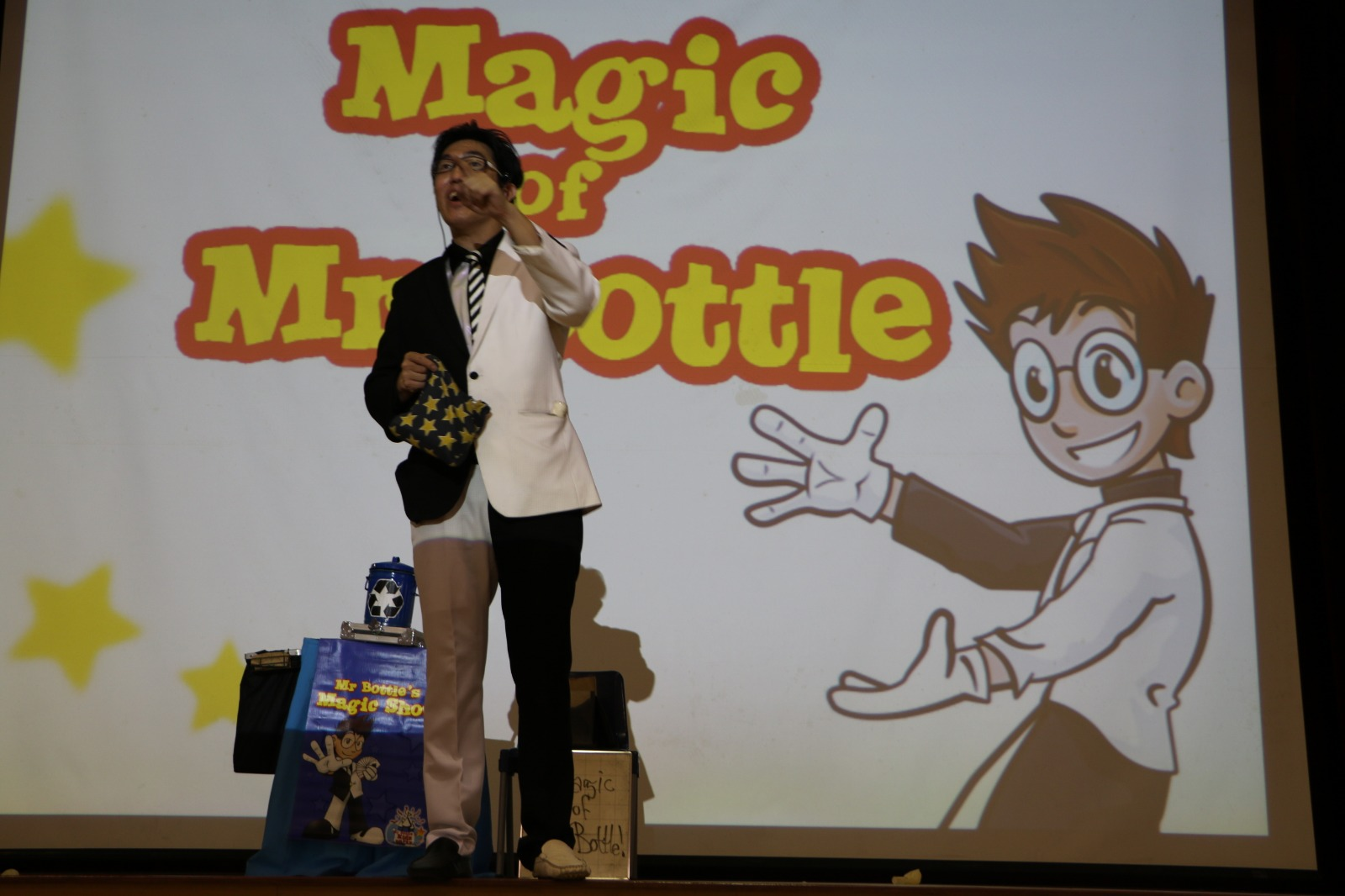 Mr Bottle's Magic Show at school assembly