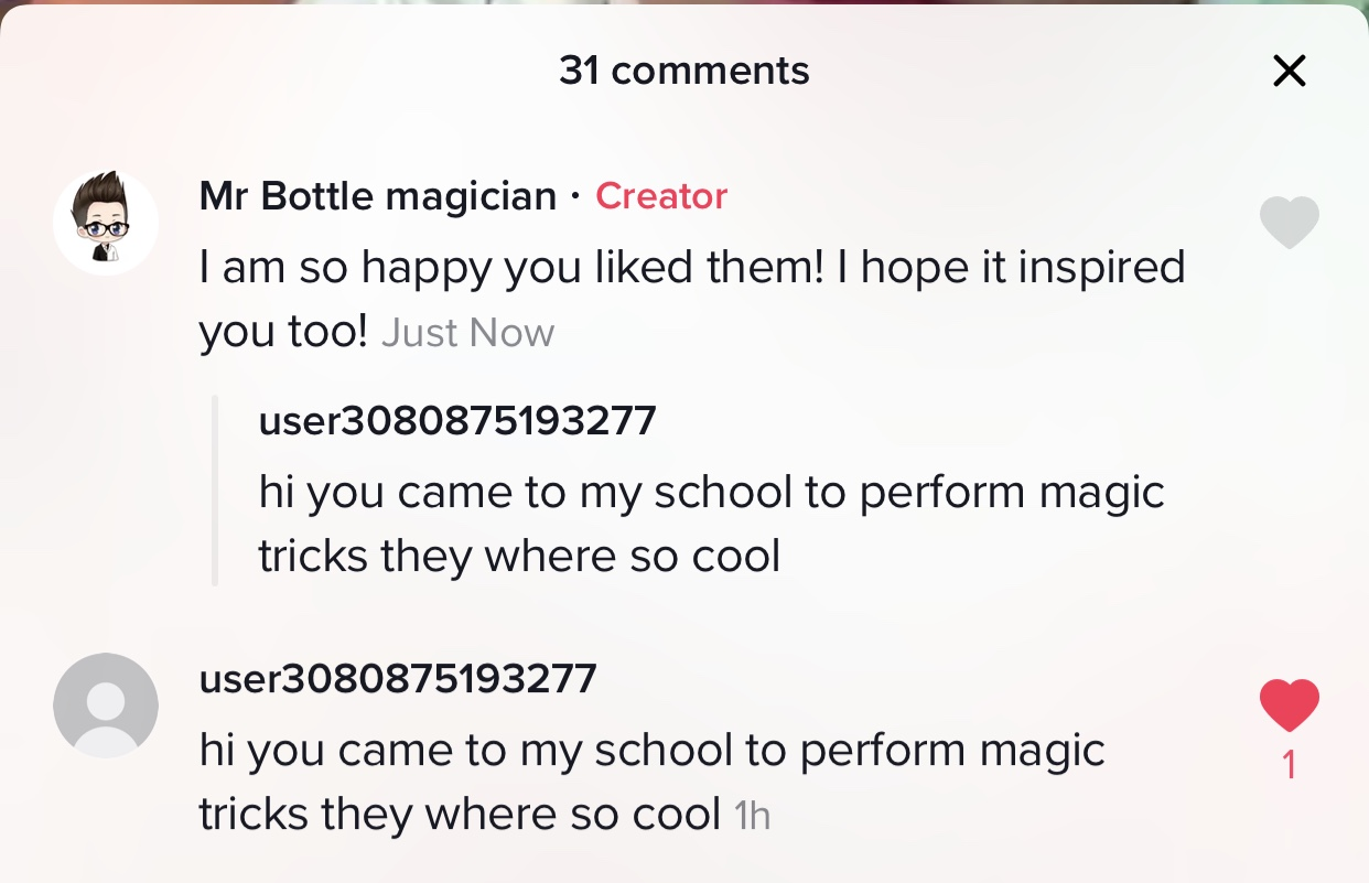 students who message us and telling us about how they like the magic and talk